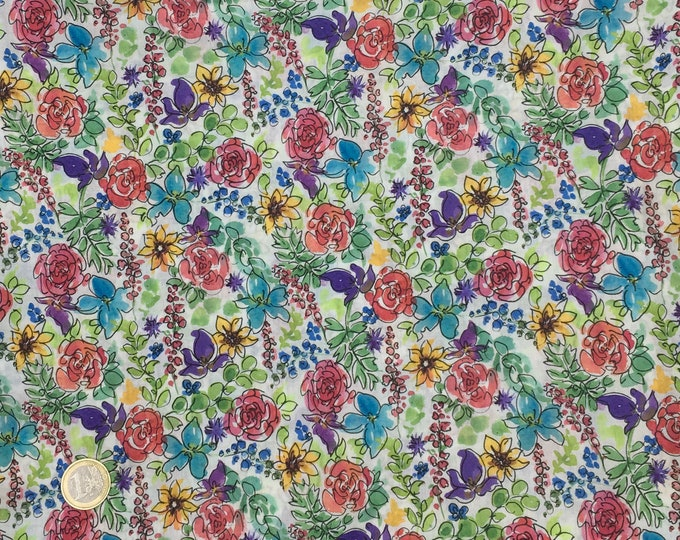 English Pima lawn cotton fabric, priced per 25cm. Floral