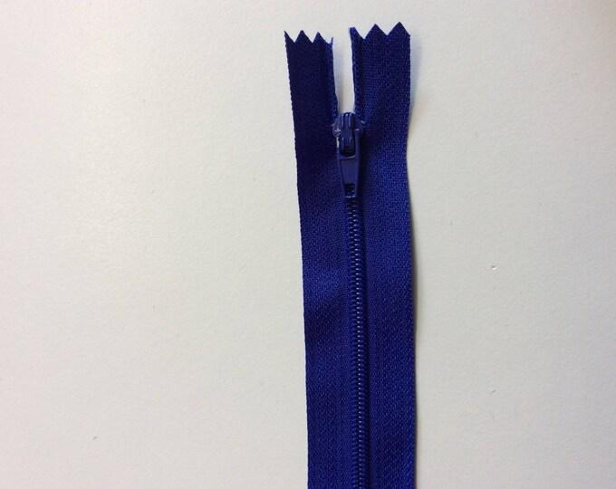 "Nylon coil zipper, 15cm (6""), royal blue"