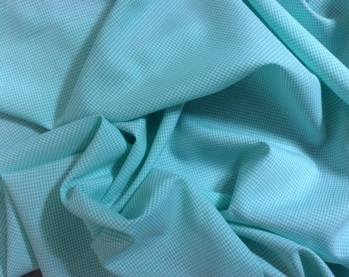 Coton poplin, check weave no3, pastel green