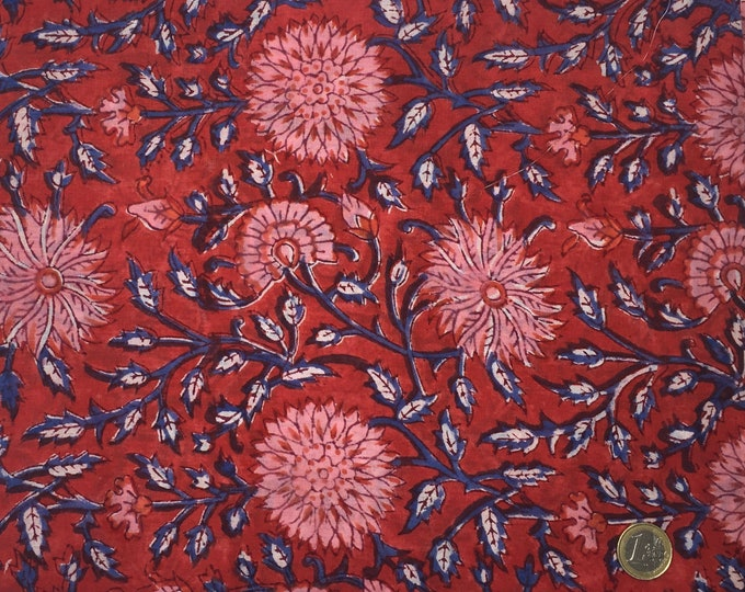 Indian block printed cotton voile, hand made. Red Jaipur