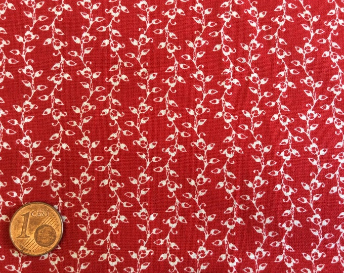 High quality homespun cotton poplin, red/white no18