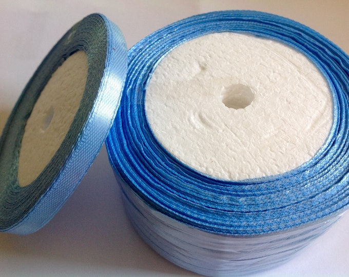Roll of 22.5m of satin ribbon single face, light blue no36