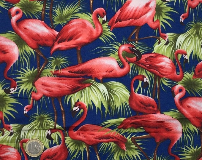 High quality cotton poplin dyed in Japan with vintage flamingoes