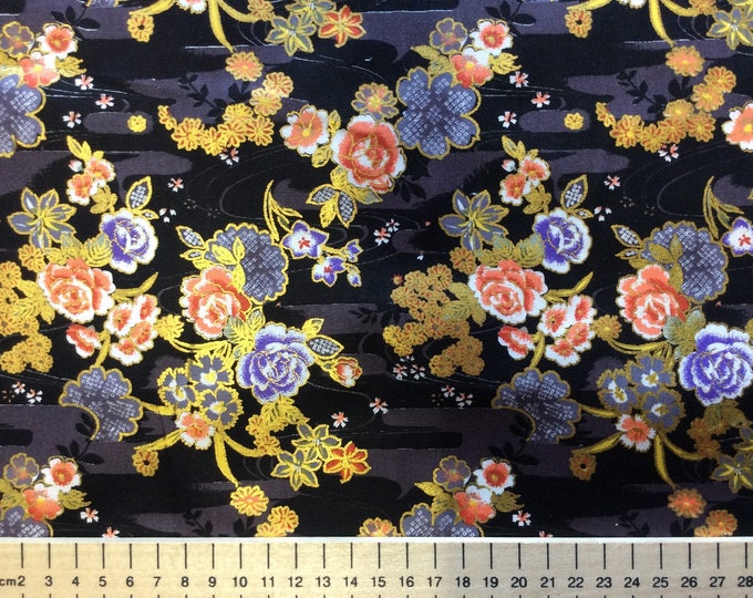 High quality cotton poplin, Japanese print on navy