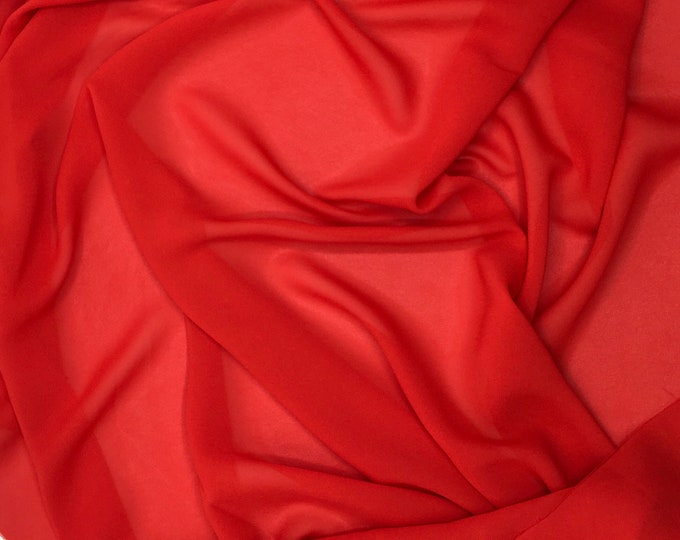 High quality Faux Silk Chiffon, very close to genuine silk chiffon. Red No26