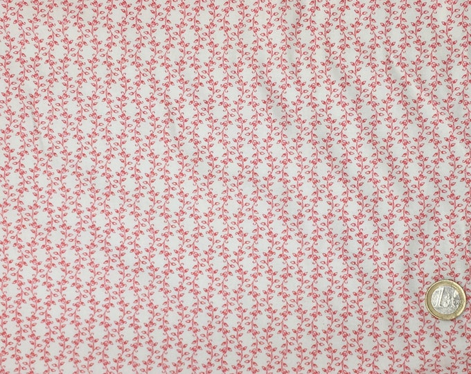 High quality cotton poplin printed in Japan, white/coral nr3