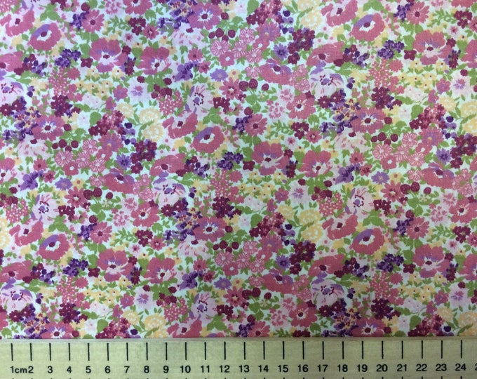 High quality cotton poplin, pink and yellow floral print