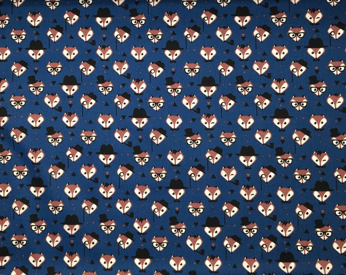 High quality cotton poplin. Mister Fox, blue