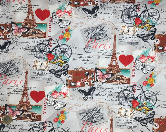 High quality cotton poplin dyed in Japan with Paris and Eiffel Tower print