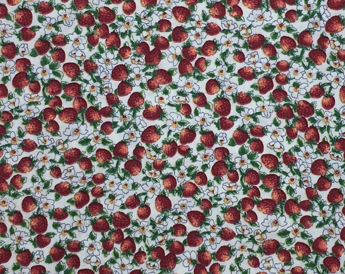 High quality cotton poplin dyed in Japan with Strawberries