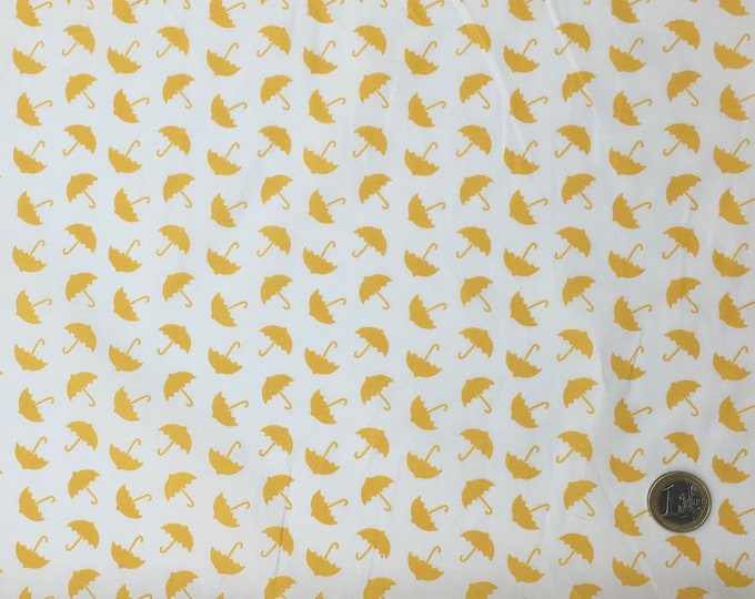 High quality cotton poplin, yellow/white umbrellas