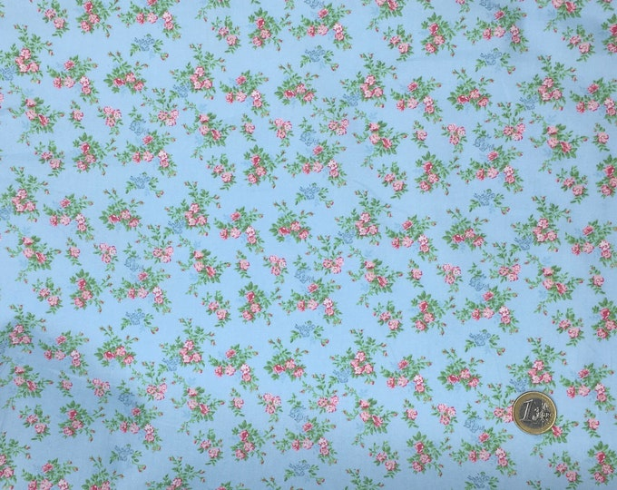 High quality cotton poplin, English roses on baby blue