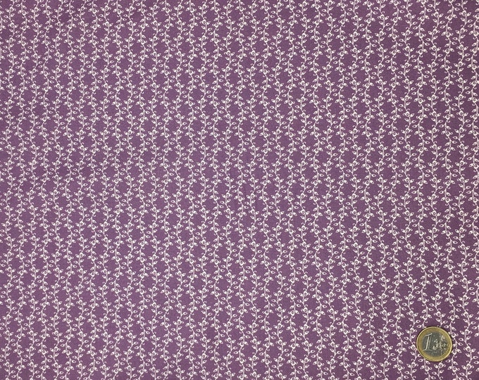 High quality cotton poplin printed in Japan, violet leaves no2