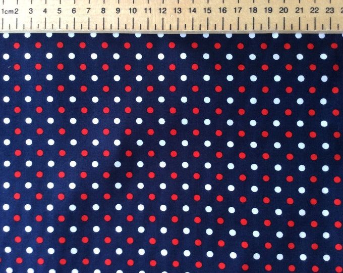 High quality cotton poplin, polka dots on navy