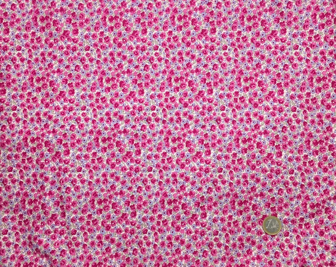English Pima lawn cotton fabric, priced per 25cm, hot pink floral
