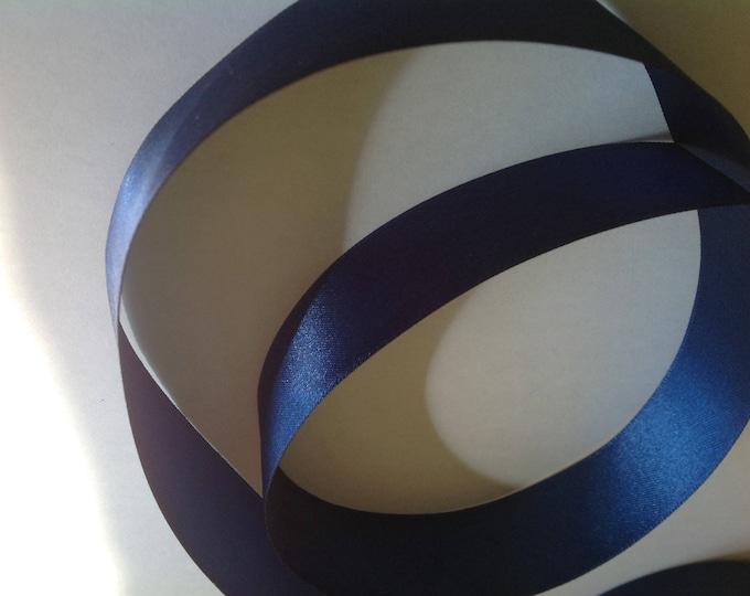 Double sided sateen ribbon, dark blue