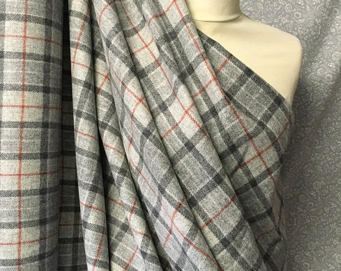 Genuine Shetland pure wool fabric, Grey Checks