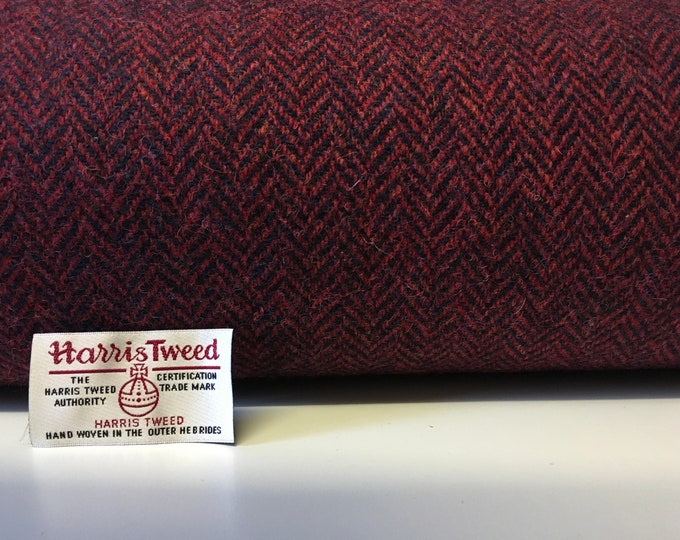 Genuine Harris tweed fabric with label, herringbone weave