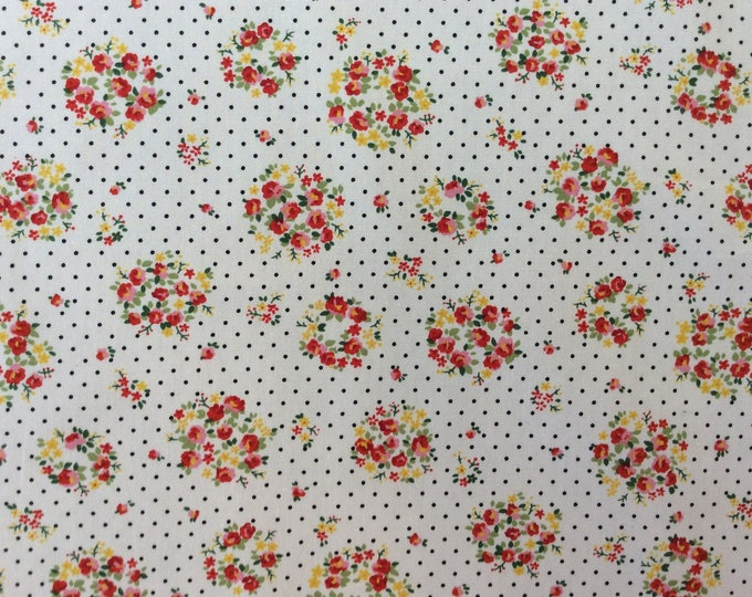 High quality cotton poplin, vintage floral print on white