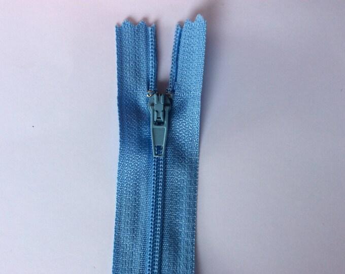 """Nylon coil zipper, 30cm (12""""), baby blue"""