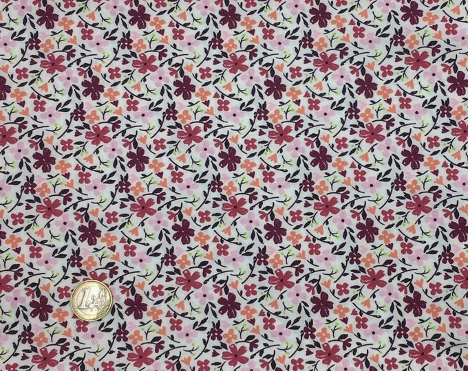 High quality cotton poplin dyed in Japan with maroon floral print