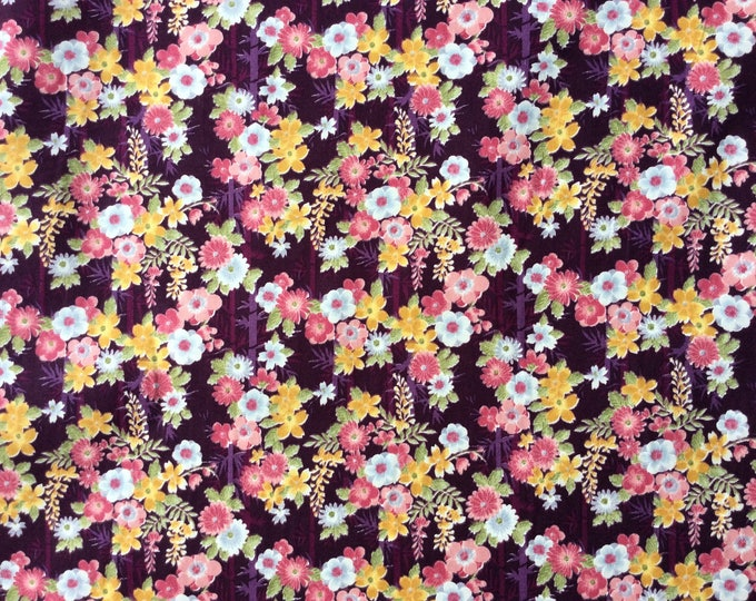 High quality cotton poplin, Asian print on plum