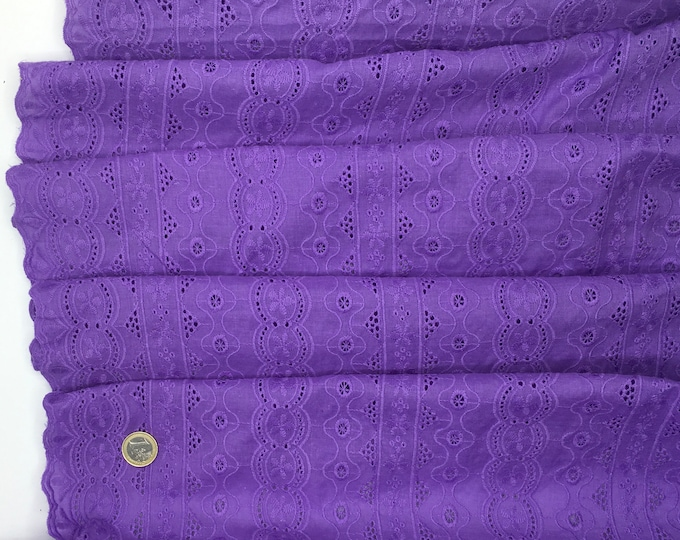 Lilac embroidery anglaise, eyelet or broderie anglais cotton fabric, scalloped edges