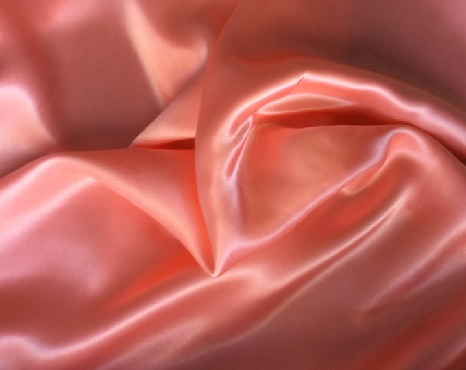 High quality silky satin, very close to genuine silk satin. Color Peach No45