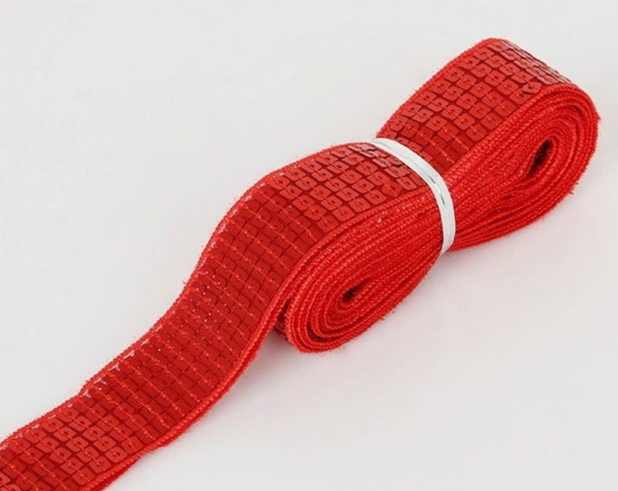 Red Square sequin or sequined ribbon, 25mm or 1» wide, sold per meter