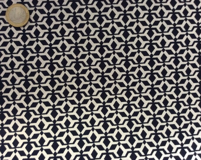 High quality cotton poplin dyed in Japan with Navy and white print