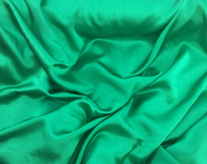 High quality silky satin, very close to genuine silk satin. Christmas Green No28