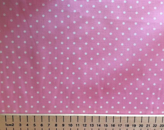 High quality cotton poplin, 3mm pink polka dots on white