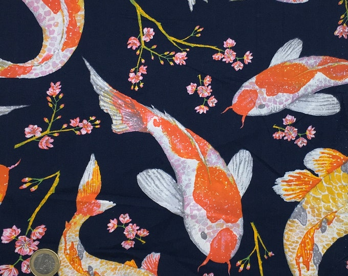 High quality cotton poplin printed in Japan, carpes koi on navy