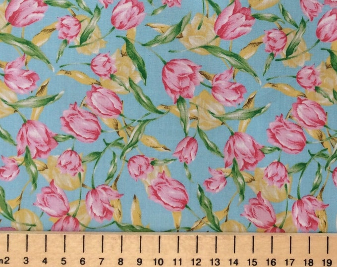 High quality cotton poplin, tulips