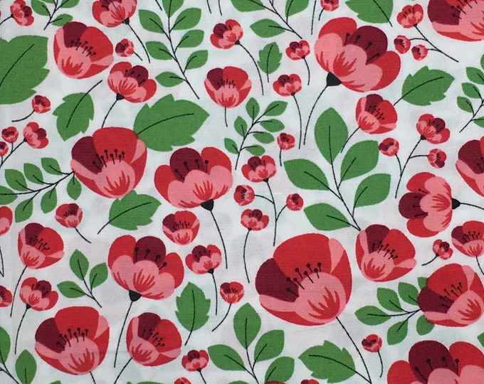 High quality cotton poplin dyed in Japan with poppies or anemones