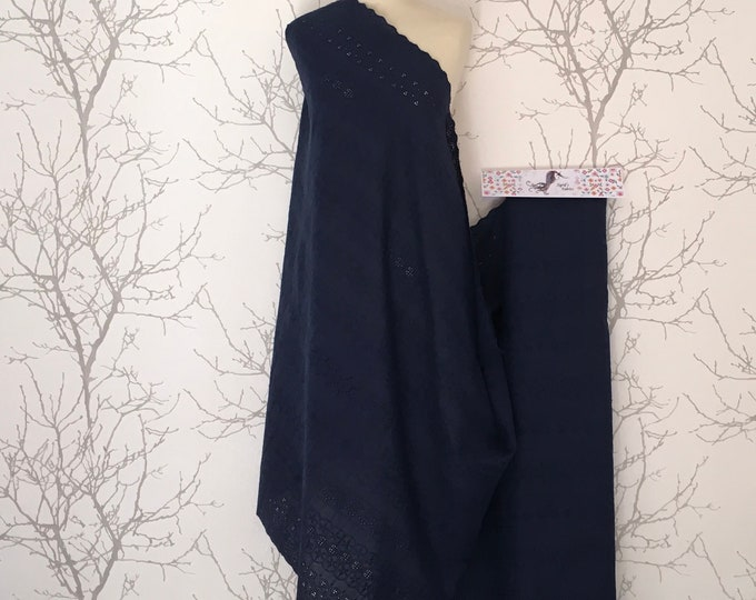 Navy embroidery anglaise, eyelet or broderie anglais cotton fabric, scalloped edges