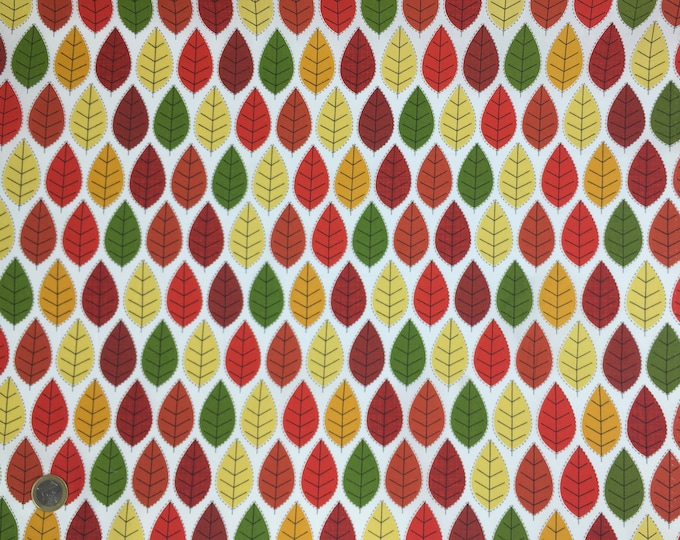 oekotex certified cotton poplin, with autumn leaves