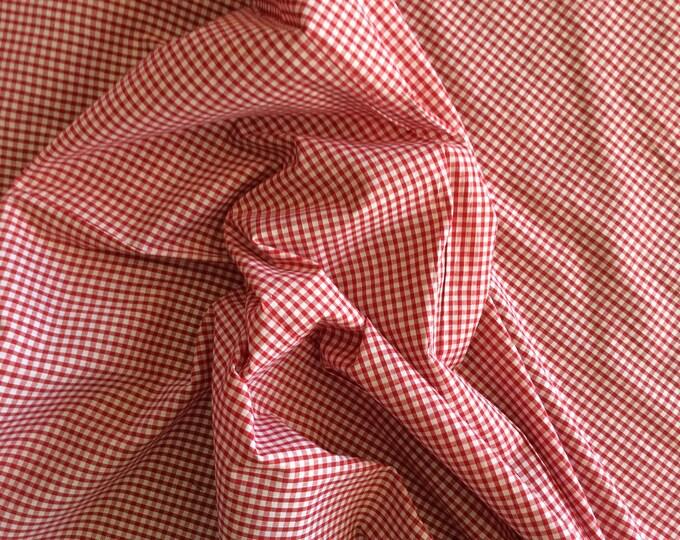 Cotton poplin, red check weave