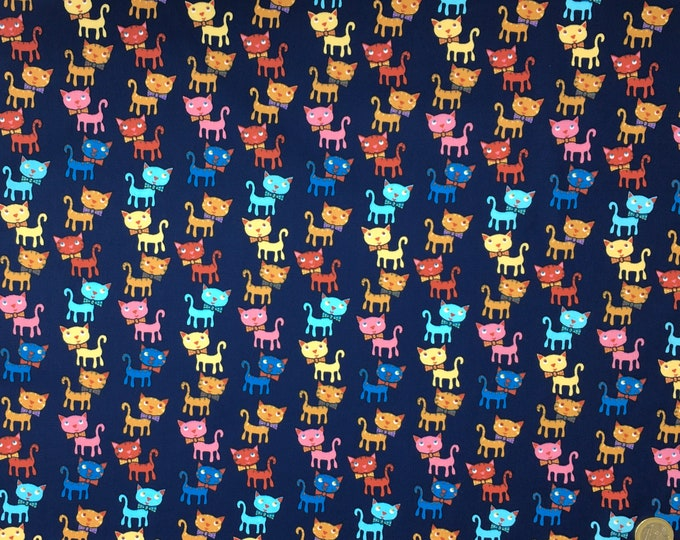 Cotton poplin with Cats on navy