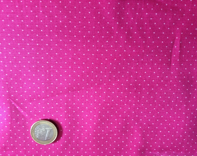 High quality cotton poplin printed in Japan, 1mm polka dots on hot pink