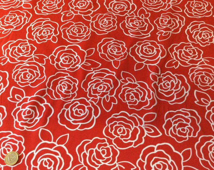 High quality cotton poplin, retro roses print on red
