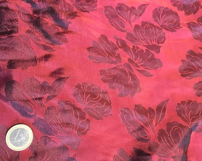 Silk sateen fabric, purple woven print
