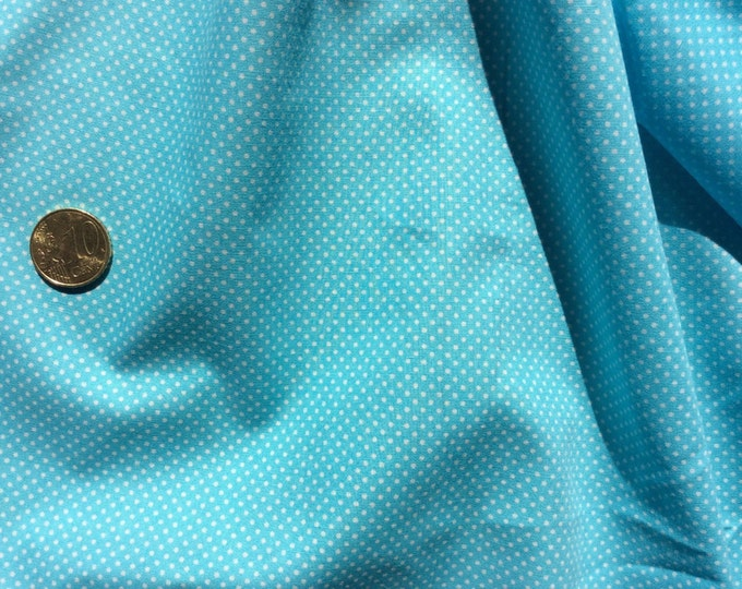 "High quality cotton poplin dyed in Japan with 2mm polka dots, ""sky blue"""