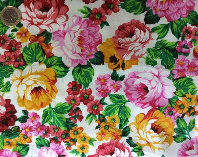 High quality cotton poplin dyed in Japan with peony print