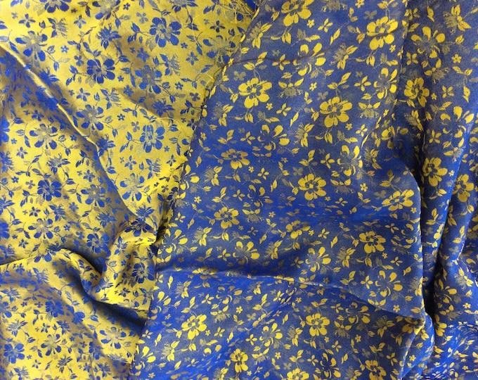 Silk sateen fabric, blue and gold yellow brocade woven print