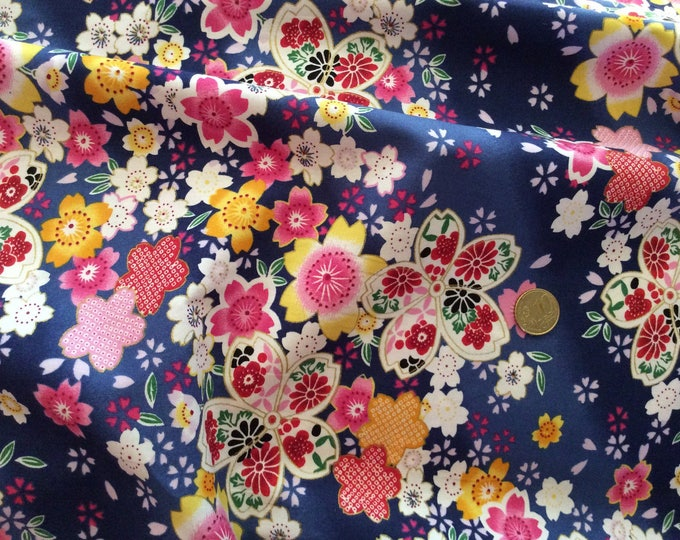 High quality cotton poplin, Japanese print on blue