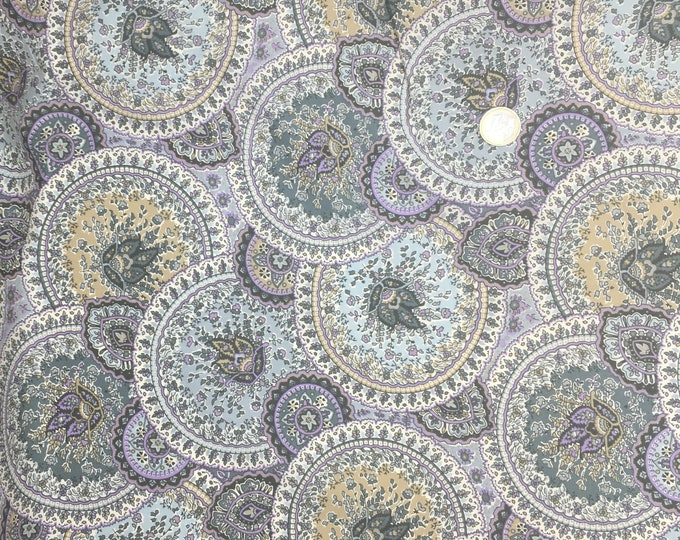 English Pima lawn cotton fabric, priced per 25cm. Paisley, Taj Mahal