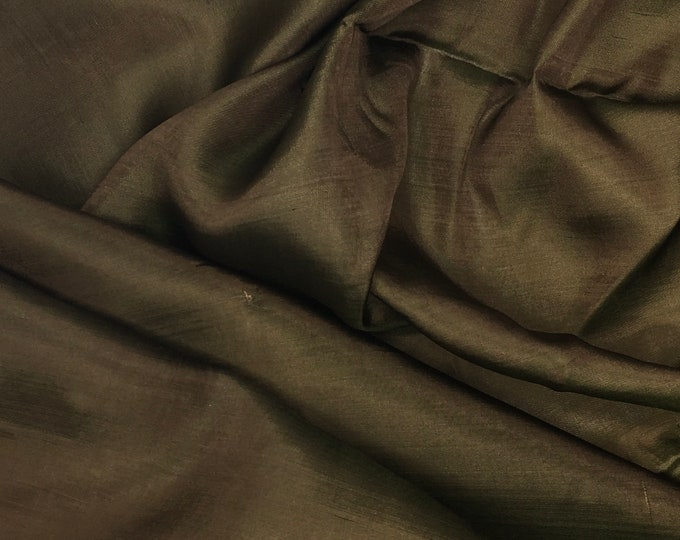 Habotae silk fabric, two tone Brown and green