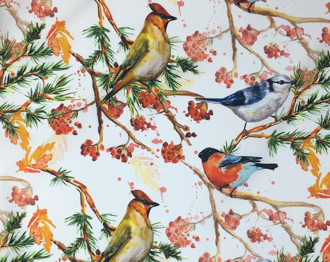High quality cotton poplin, digital bird and foliage print on white