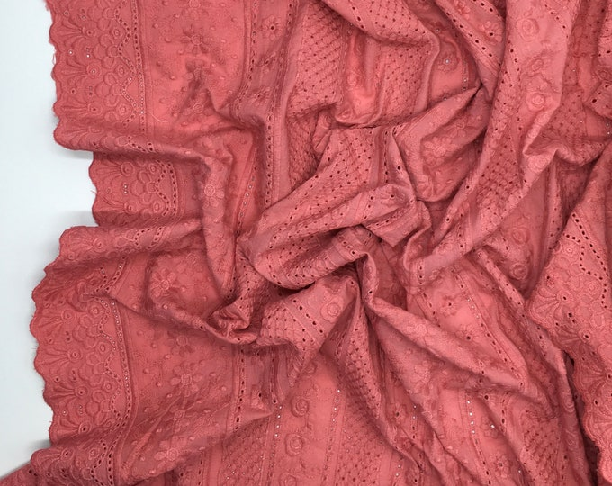 Antique pink embroidery anglaise, eyelet or broderie anglais cotton fabric, scalloped edges